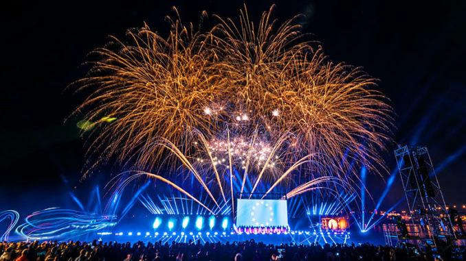 Feuerwerk beim Tag der Deutschen Einheit 2017 Mainz