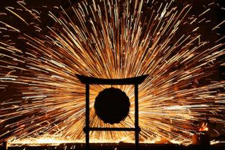 Feuer- und Japanische Trommelshow bei der Langen Kunstnacht
