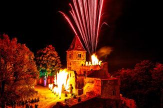Flammenshow Burg Frankenstein