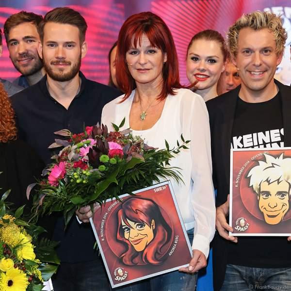 Revolverheld, Andrea Berg und Sascha Grammel bei Verstehen Sie Spaß? 2014 in Offenburg