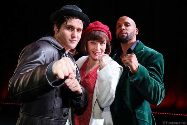 Nikolas Heiber (Rocky Balboa), Wietske van Tongeren (Adrian) und Gino Emnes (Apollo Creed), die Hamburger Musical Darsteller von ROCKY