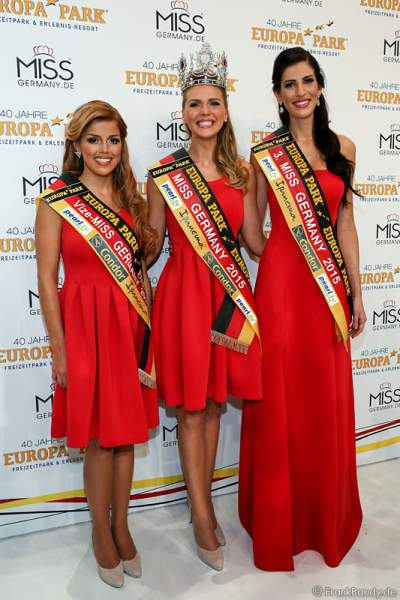 Vize-Miss Germany 2015 - Julia Kraml, Miss Germany 2015 - Olga Hoffmann, 3. Miss Germany 2015 - Lisa Wargulski, beim Finale im Europa-Park