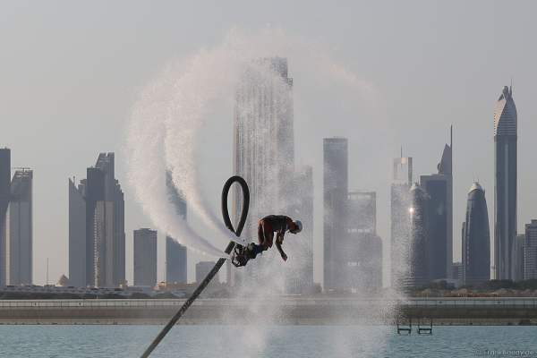 Flyboarder at the Rehearsals for the 44th UAE National Day 2015 in Dubai Design District