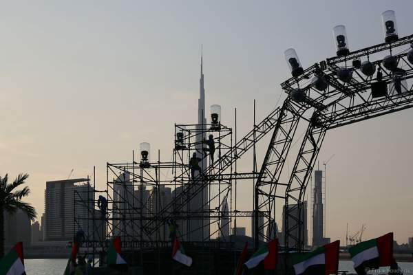 Construction and preparations for the celebration of the 44th UAE National Day 2015 in Dubai Design District