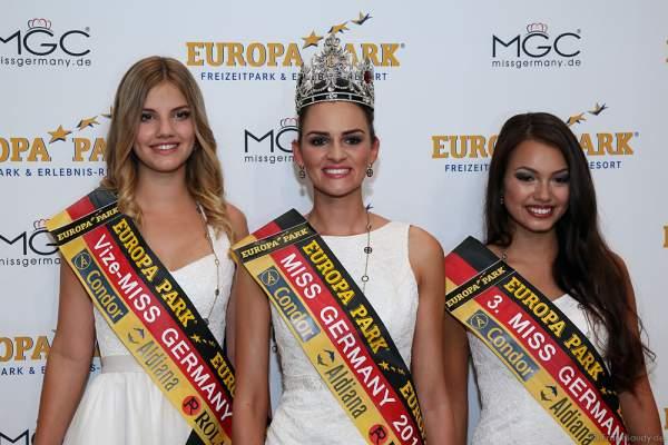 Siegerbild Miss Germany 2016: Francesca Orru (Miss Schleswig-Holstein), Lena Bröder (Miss Westdeutschland) und Katharina Schubert (Miss Hessen)