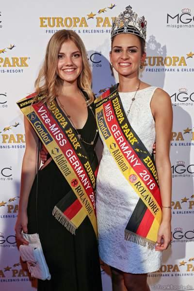 Vize-Miss Germany 2016 Francesca Orru und Miss Germany 2016 Lena Bröder nach der Wahl im Europa-Park