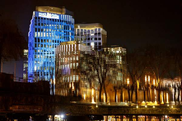 Das LEO Gebäude der ING-DiBa bei der Luminale 2016 in Frankfurt, Luminaleo–lights and you