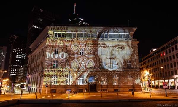 Historische Geldscheine an der Deutschen Bank bei der Luminale 2016 in Frankfurt