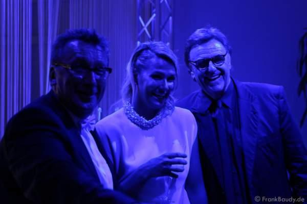 Klaus Schunk, Franziska van Almsick und Roland Mack bei der After-Show-Party beim Radio Regenbogen Award 2016 am 22. April 2016 im Europa-Park in Rust