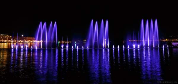 Kunstvoll beleuchtete Wassershow bei Nacht beim Geneva Lake Festival 2016 - Schweiz