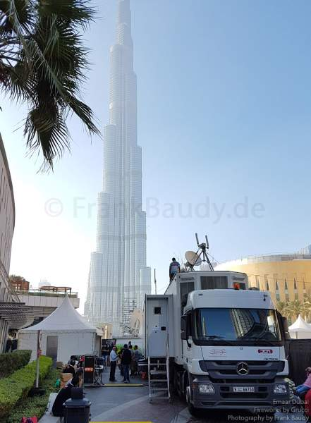 Media point for the Fireworks at the Burj Khalifa - New Year's Eve gala show 2016-2017 Downtown Dubai