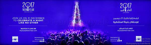 Announcement of the Fireworks at the Burj Khalifa - New Year's Eve gala show 2016-2017 Downtown Dubai