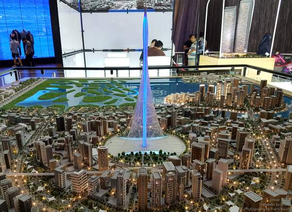 A model of the Dubai Creek Tower / The Tower Project at Dubai Creek Harbour