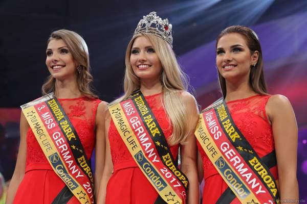 Siegerbild Miss Germany 2017: Sarah Strauß (Miss Bremen 2017), Soraya Kohlmann (Miss Sachsen 2017) und Aleksandra Rogovic (Miss Niedersachsen 2017)