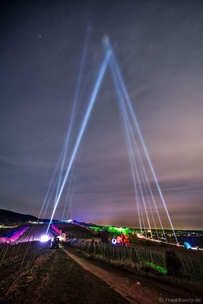 Leuchtende Weinbergnacht 2017 mit Himmelsstrahler (Skybeamer) in Bad Dürkheim