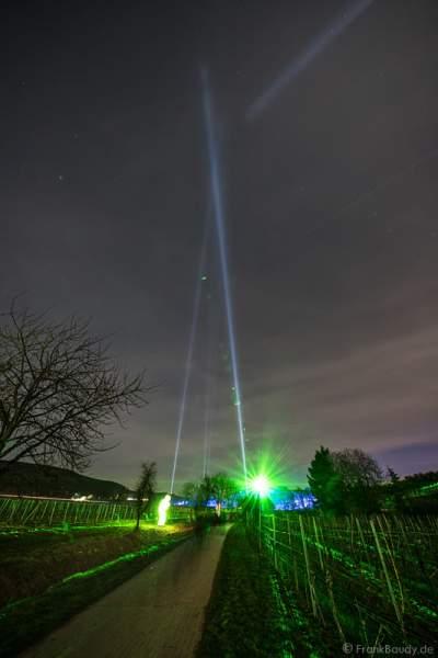 Leuchtende Weinbergnacht 2017 mit Laser und Himmelsstrahler (Skybeamer) in Bad Dürkheim