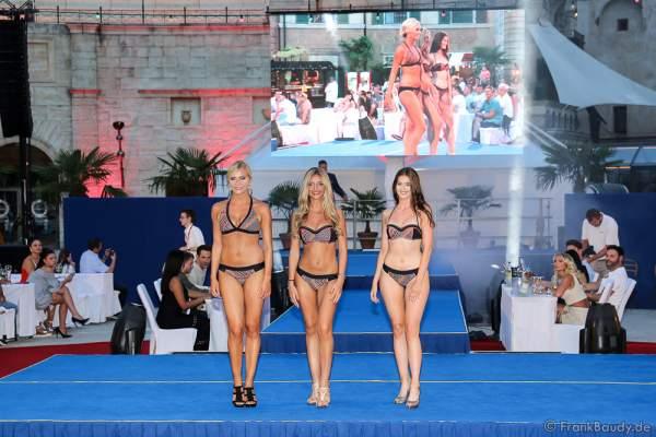 Team Belgien Liesbeth Claus, Delphine Devos und Eva Mira im Bikini beim 2. Europäischen Missen TEAM-Cup am 6. Juli 2017 im Europa-Park in Rust