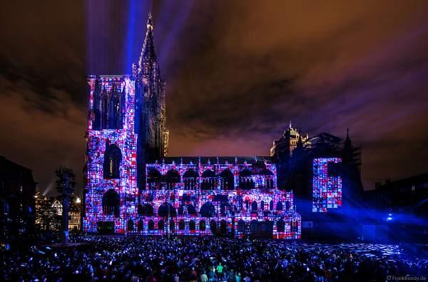 Lichtshow am Straßburger Münster beim Sommerfestival 2017 - Liebfrauenmünster - Cathédrale Notre-Dame