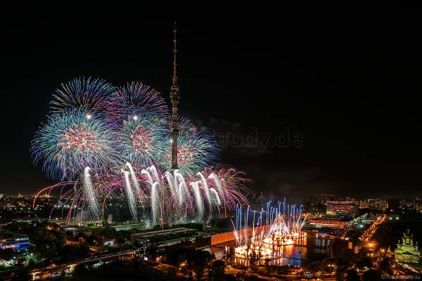 Opening ceremony of the Circle of Light 2017 in Moscow with fireworks, water show and fire at the Ostankino tower and on Ostankino pond