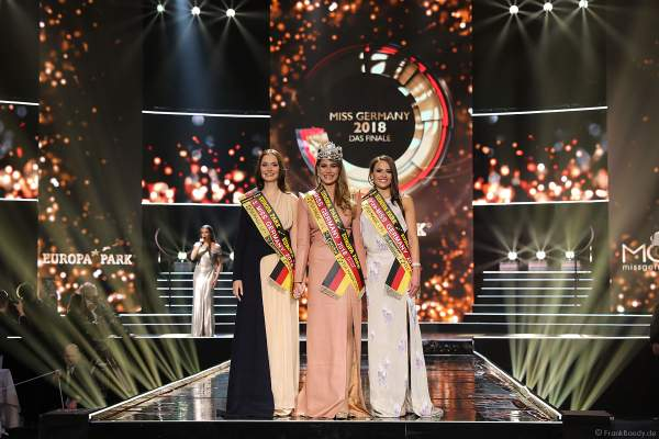 Siegerbild: 3. Miss Germany 2018 Sarah Deborah Zahn (Miss Bayern 2018), Miss Germany 2018 Anahita Rehbein (Miss Baden-Württemberg 2018), Vize-Miss Germany 2018 Alena Krempl (Miss Westdeutschland 2018)