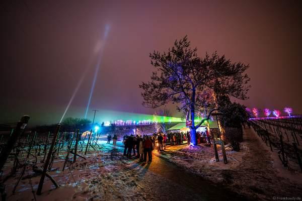 Probierstation mit Kuppeltzelt und Lichtshow bei der Weinbergnacht 2018 in Bad Dürkheim