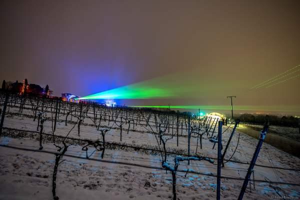 Verschneite Weinberge mit Lasershow bei der Weinbergnacht 2018 in Bad Dürkheim