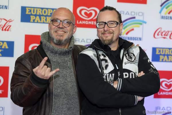 Comedy-Duo Mundstuhl aus Frankfurt am Main (Komikern Ande Werner und Lars Niedereichholz) beim Radio Regenbogen Award 2018 am 23. März in der Europa-Park Arena in Rust