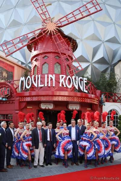 Familie Mack, Jean-Jacques und Jean-Victor Clerico und die Tänzerinnen des Moulin Rouge bei der Eröffnung der Eurosat – CanCan Coaster & Eurosat Coastiality Achterbahn im Europa-Park am 12. September 2018