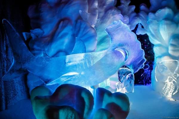 Unterwasserwelt aus Eis bei der Eisskulpturen Ausstellung RULANTICA aus EIS – Snorris funkelnde Wasserwelt im Europa-Park zur Wintersaison 2018/2019
