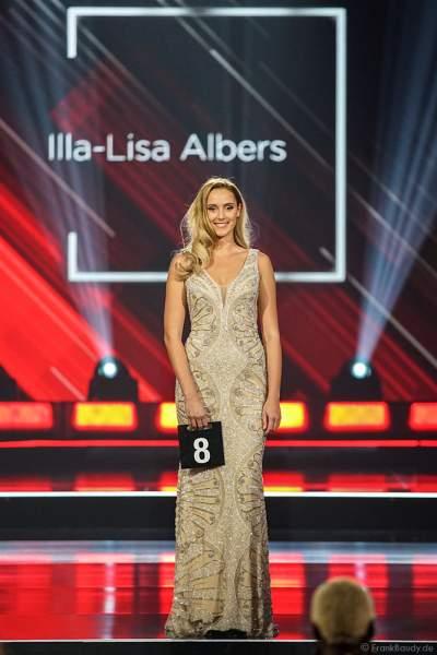 Miss Berlin 2018/19, Illa-Lisa Albers im Abendkleid auf dem Laufsteg beim Miss Germany 2019 Finale in der Europa-Park Arena am 23.02.2019