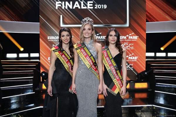 Siegerbild: 3. Miss Germany 2019 - Anastasia Aksakn (Miss Sachsen 2018/19), Miss Germany 2019 - Nadine Berneis (Miss Baden-Württemberg 2019), Vize-Miss Germany 2019 - Pricilla Klein (Miss Hamburg 2018/19)