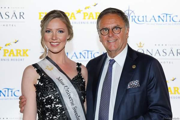 Miss Universe Sweden 2018 - Emma Strandberg Winkel und Roland Mack bei der Eröffnungsfeier des neuen Themenhotel Kronasar im Europa-Park in Rust am 24.05.2019