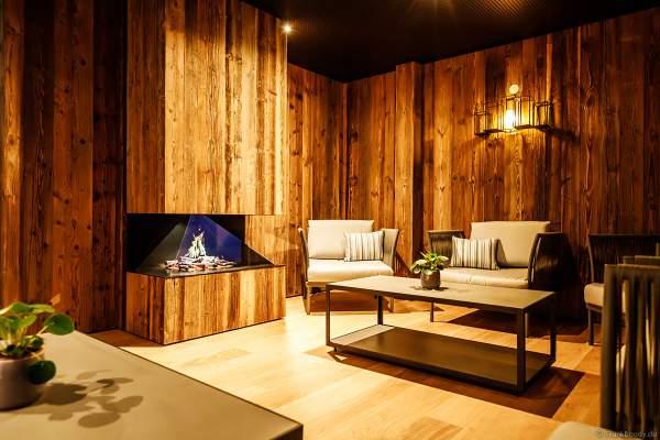 Das gemütliche Kaminzimmer im Ruhe- und Saunabereich HYGGEDAL in der Wasserwelt Rulantica bei der Einweihung am 15. Oktober 2020 im Europa-Park