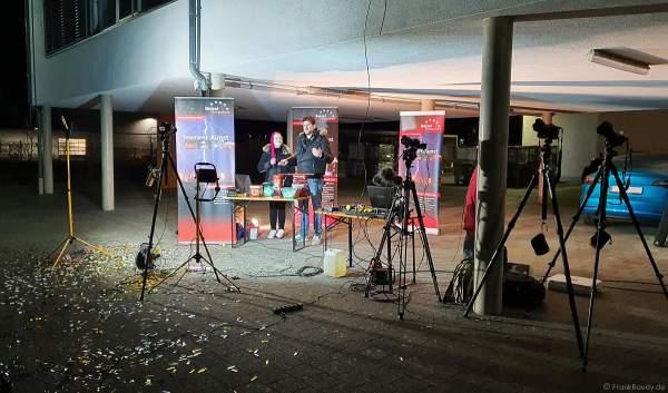 Das Setup für die Moderation, Videoübertragung und Fotos bei der XXL LIVE Böllertour
