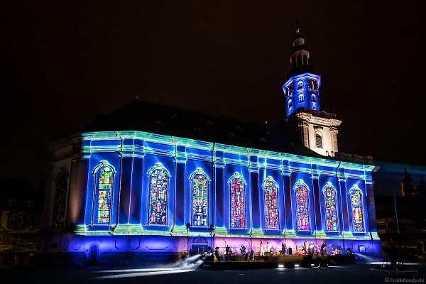 """Multimedia-Inszenierung DER LUTHER-MOMENT an der Dreifaltigkeitskirche zum Gedenken an Martin Luther am 17. April 2021 beim Reformationsjubiläum """"500 Jahre Reichstag zu Worms"""""""