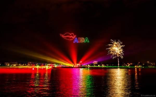 STERNENZAUBER ÜBER KIEL mit Drohnenshow und einer Laser- und Lichtshow als Abschlussinszenierung der Kieler Woche 2021 von AIDA Cruises