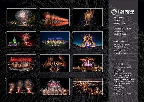 Feuerwerk Fotokalender 2018 - Index
