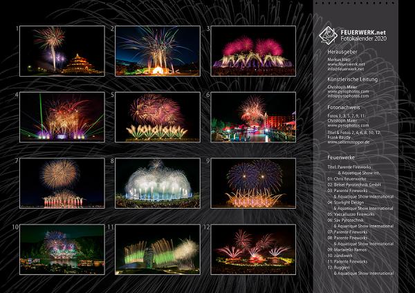 Feuerwerk Fotokalender 2020 - Indexseite